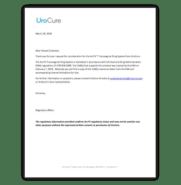 UroCure 510(k) Clearance Letter
